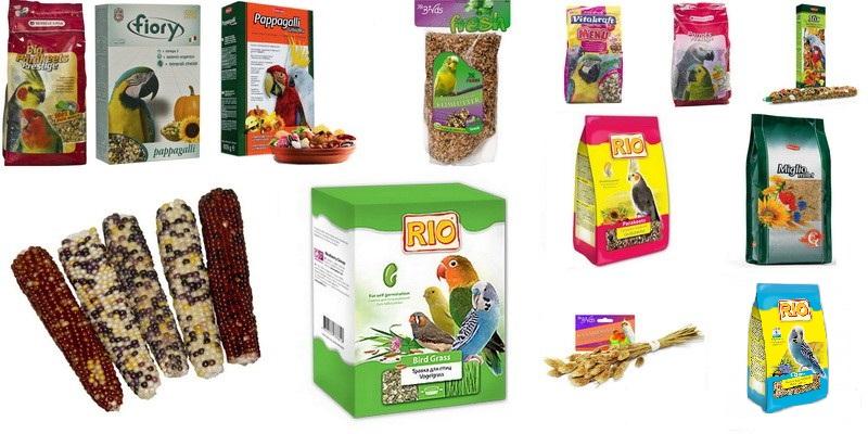 ассортимент кормов для попугаев